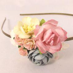 Lille hårbøjle i grå og pink