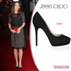 Kate Middleton in Jimmy Choo Cosmic Black Suede Platform Pumps - ShoeRazzi