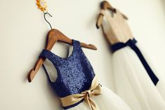 Navy sequin and gold flower girl dress - see more ideas at http://themerrybride.org/2014/10/18/navy-and-gold-wedding-2/