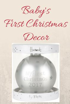 Make baby's first Christmas one to remember with this delightful decoration from Harrods. A charming keepsake to be treasured for years to come, the pearly white design is scattered with glittery stars and features 'My First Christmas written in silver. Babies First Christmas, Christmas 2017, Christmas Themes, Christmas Holidays, Christmas Decorations, Christmas Ornaments, Merry Christmas, Woodland Christmas, Unique Christmas Gifts