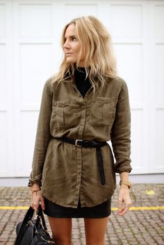 Fashion Me Now | City Safari: belted utility button-down shirt & skirt #style #fashion