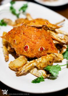 deep fried blue swimmer crab coated with salted egg yolk
