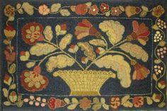 Blue Basket Antique, 36 x 54, hooked by Rebecca Calderwood of Hollidaysburg, Pennsylvania.