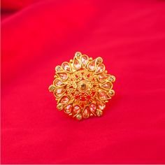 Pakistani Indian Bridal Round Gold Plated Adjustable Size 4 to 10 Ring in White Zircon Jewelry Design Earrings, Gold Earrings Designs, Gold Jewellery Design, Gold Jewelry, Dainty Jewelry, Jewelry Accessories, Gold Ring Indian, Where To Buy Gold, Gold Choker Necklace