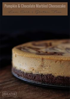 This Pumpkin Chocolate Marbled Cheesecake boasts a rich and creamy pumpkin filling with ribbons of chocolate cheesecake running through it and a chocolate cookie crust. Keto and Atkins friendly!