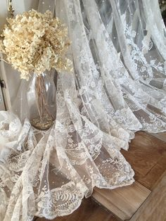 """4 YARDS! 40""""deep ANTIQUE FRENCH ROSES Net Embroidered LACE 40"""" c1880"""
