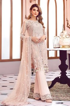Asian net embroidered dress in pink color is presented for party and casual wear. Asian net embroidered dress with pearls and sequinned embroidered patches. Latest Pakistani Dresses, Pakistani Wedding Dresses, Pakistani Dress Design, Pakistani Outfits, Pakistani Dresses Online Shopping, Pakistani Clothing, Indian Clothes, Salwar Dress, Pakistani Salwar Kameez