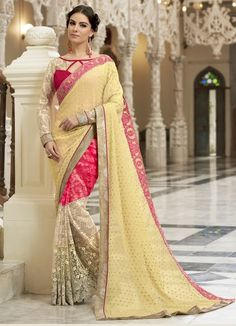 Beige Faux Georgette Festive Saree #embroidery #borderwork #Trendy #onlinesari #sari #saree #WomenClothing #WomenWear #Designersari #stylishsari #nikvik #usa #designer #australia #canada #malaysia #UAE #freeshipping  Sign up and get USD100 worth vouchers.Price-US$47.39