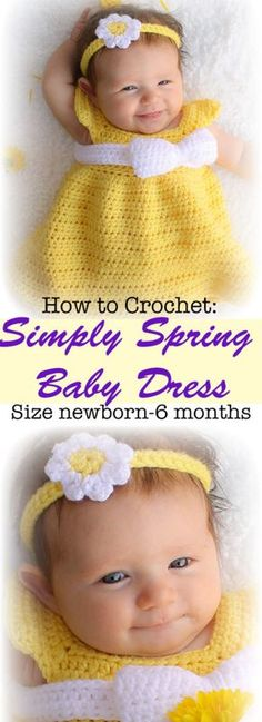 This free baby dress crochet pattern is designed to be quick and simple to create for the beginner or expert crocheters alike. The pattern comes in size newborn through 18 months. #crochet #freepattern #babydress