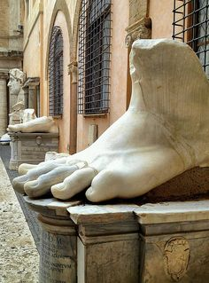 Surviving Pieces of Giant Statue of Emperor Constantine ~ Musei Capitolini ~ Rome , Italy