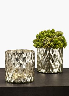 Antique Silver Diamond Cylinder: We love the vintage, mercury glass look of this vase. A diamond pattern in the glass adds to the antique look of this container. Here we filled ours with thistle.