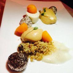 Chef Eugenio Boer  Mousse cioccolato bianco bruciato, topinambur, zucca, marroni e crumble di porcini #food #cooking