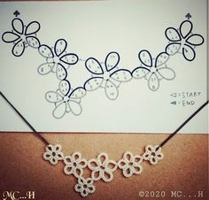 Tatting Necklace, Tatting Jewelry, Lace Jewelry, Tatting Lace, Diy Jewelry, Needle Tatting Patterns, Tatting Tutorial, Crochet Bookmarks, Lacemaking