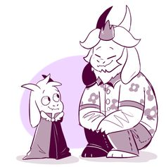 Asgore and Lil Asgore || by: mudkipful (Tumblr)