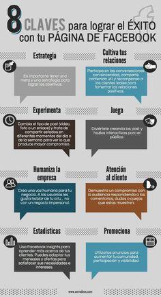 8 claves para el éxito de una página de Facebook #infografia #infographic #socialmedia