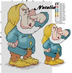 Borduurpatroon: Disney Allerlei *Cross Stitch Pattern Disney Various ~7 Dwergen Serie 4: 7/7~