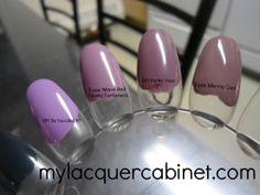 OPI Do You Lilac It vs. Essie Warm and Toasty Turtleneck vs. OPI Parlez Vous OPI vs. Essie Merino Cool