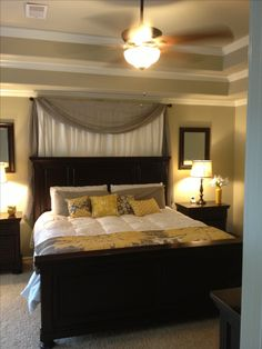 MASTER B Mirror behind night stand / curtains behind bed / white yellow grey. Our furniture is light alder wood but bed placement is the same.