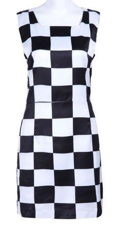 #SheInside Black White Sleeveless Zipper Plaid Tank Dress