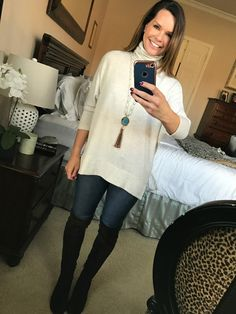 SAHM outfits - oversized turtleneck, long necklace, jeans and over the knee boots!  SAHMonday:  Turtleneck, Jeans and Over the Knee Boots http://getyourprettyon.com/sahmonday-turtleneck-jeans-knee-boots/?utm_campaign=coschedule&utm_source=pinterest&utm_medium=Alison%20Lumbatis%20%7C%20Get%20Your%20Pretty%20On&utm_content=SAHMonday%3A%20%20Turtleneck%2C%20Jeans%20and%20Over%20the%20Knee%20Boots