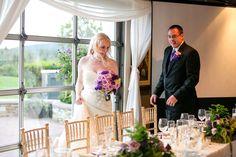 Wedding reception# purple# green# roses# hydrangea# Fern