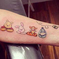 Rate This Winnie the Pooh Tattoo 1 to 100 Sketches Tiny Disney Tattoo, Matching Disney Tattoos, Cute Disney Tattoos, Disney Sleeve Tattoos, Baby Tattoos, Dream Tattoos, Friend Tattoos, Tatoos, Unique Semicolon Tattoos