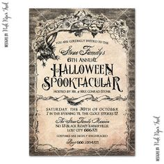 Halloween Invitation v.1 Haunted Mansion Party by PinkPaperTrail