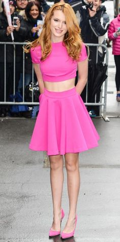 Bella Thorne channeled her inner Barbie for her appearance on The View in a hot pink AQ/AQ crop top and matching scuba skirt with pink Carvela Kurt Geiger d'Orsay pumps.