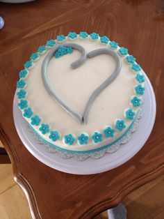 Silver Heart/teal blossoms cake-Made by Melia Healy