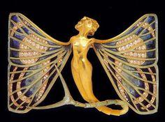 THE SPLENDORS OF LALIQUE ART, Jewelry, Butterfly Fairy Brooch. Gold, Enamel and Diamonds (hva)