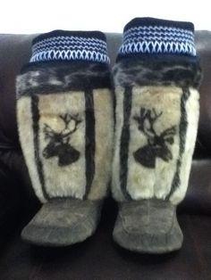 Inuit made sealskin kamiks by Sheba Ejangiaq
