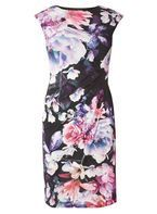 Womens **Billie & Blossom Black Floral Print Manipulated Dress- Black