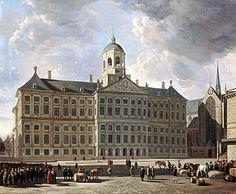 Het classicistische Paleis op de Dam (1648-65), ontworpen door Jacob van Campen, geschilderd in 1673 in classicistische stijl door Gerrit Adriaenszoon Berckheyde