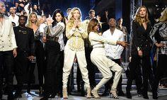 Kendall Jenner, Gigi Hadid and Jourdan Dunn on the Balmain x H&M catwalk