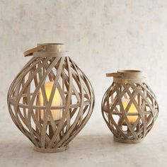 Irena Bamboo Wooden Lanterns. #ad