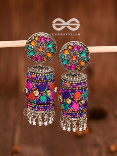 Earrings by Everstylish Indian Jewelry Earrings, Indian Jewelry Sets, Jewelry Design Earrings, Silver Jewellery Indian, Ear Jewelry, Bridal Jewelry, Silver Earrings, Silver Jhumkas, Antique Earrings