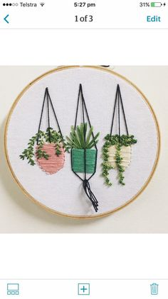 Hanging plants in pots embroidery , wall garden , pastel plant pots , succulents , cactus , cactus wall art succulent embroidery by Moongirlstitches on Etsy https://www.etsy.com/listing/496035773/hanging-plants-in-pots-embroidery-wall