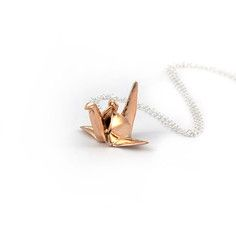 Origami Crane Necklace Rose Gold, $78, now featured on Fab.