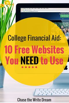 College Financial Aid: 10 Websites You NEED to Use! These websites provide education on grants, scholarships, student loans, and other types of financial aid. Includes information for how college students can get MORE money for school as well. Grants For College, Financial Aid For College, Online College, College Hacks, Scholarships For College, Education College, College Life, College Students, College Ready