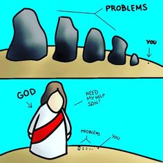 Jesus Christ is bigger than your problems. Cast your burdens on Him because He cares for you Bible Verses Quotes, Jesus Quotes, Bible Scriptures, Faith Quotes, Funny Christian Memes, Christian Humor, Christian Quotes, Christian Love, Bible Notes