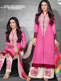 Fabulous Pink Color Georgette Strait Cut Salwar Suit  - Buy Bollywood Salwar Suits