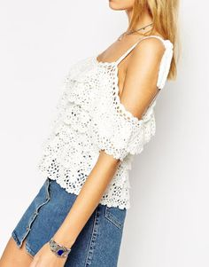 Outstanding Crochet: ASOS Hand Crochet Top With Off Shoulder Ruffles.