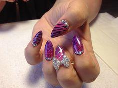 Nails fade stiletto bow animal print pink purple sparkle
