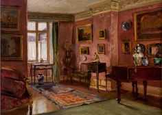 Walter Gay (American, 1856–1937), The Front Parlor, after 1909. Oil on canvas, 18 x 22 in. Gay specialized in painting views of opulent residential interiors in late-19th & early-20th-century America & Europe.       Read more http://museumpublicity.com/2012/10/10/frick-art-historical-center-opens-impressions-of-interiors-gilded-age-paintings-by-walter-gay/