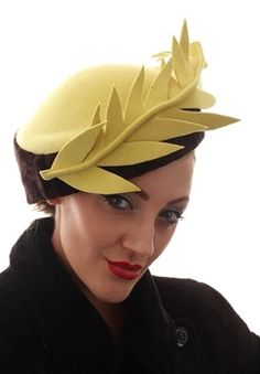 Lime/Yellow felt with Brown Velvet sideband and felt feather Size - 22 1/2 Inches