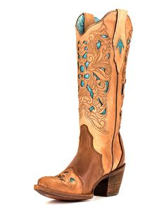 Corral Women's Brown/Turquoise Floral Tool Boot - C1620