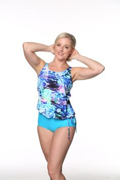 8f884cebd1a Blouson Mastectomy Swim Top Separate in Ocean Rose Print by T.H.E.  Mastectomy Swimsuit