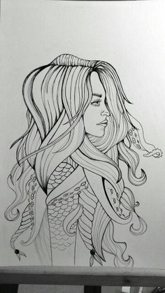 Progress #3 (Mermaid piece) Went over the pencil marks with Mircopens.