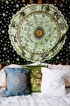 Green • Zodiac Calendar Tapestry & Pillow Covers by Lady Scorpio | Shop Now LadyScorpio101.com | @LadyScorpio101 | Photography by Luna Blue @Luna8lue | Boho Bedroom Inspiration.