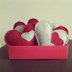 3 Gray or Red Catnip Wool Blend Felt Kitty by smilingfrogpets, $6.00